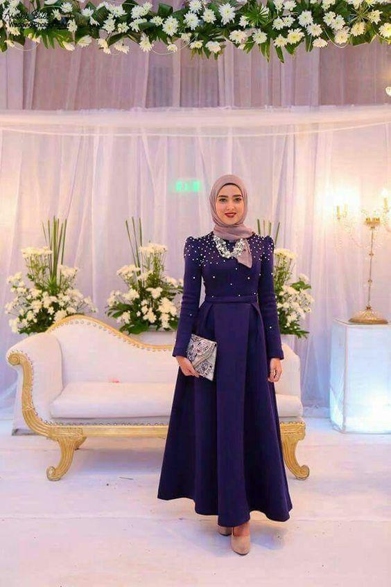 صورة فساتين سواريه 2019 للمحجبات , اجمل الفساتين