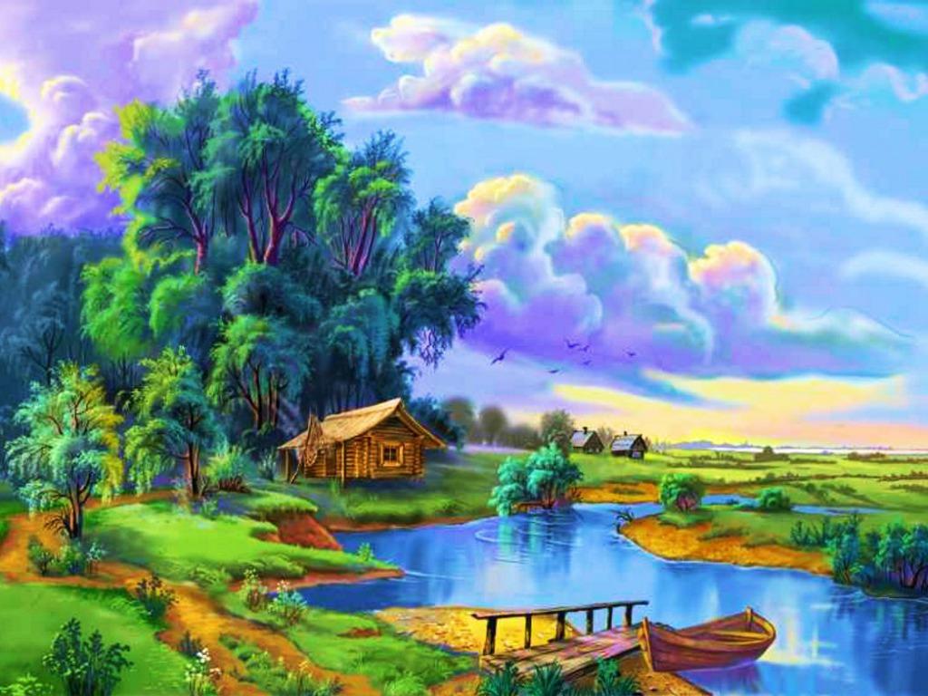 بالصور رسم منظر طبيعي باليد , اظهر موهبتك برسم اجمل لوحات المناظر الطبيعيه 4843 13