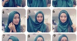 صورة طرق لف الحجاب بالخطوات , لفات طرح جديدة وعصرية