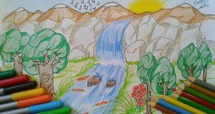صورة رسم منظر طبيعي سهل للاطفال , الرسم مرايه طفلك