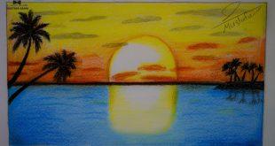 صورة رسم منظر طبيعي , رسومات للبحر والسما